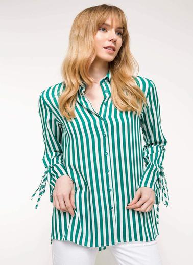 DeFacto Kol Detaylı Çizgili Gömlek Yeşil